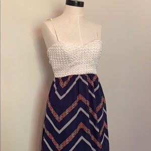 Navy and white hi low dress